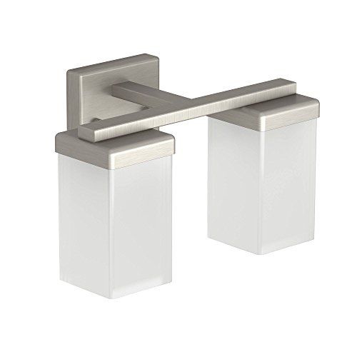 Moen YB8862BN 2-Light Dual-Mount Bath Bathroom Vanity Fixture with Frosted Glass, Brushed Nickel