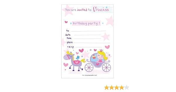 20 invitaciones de la fiesta de cumpleaños de los niños de la princesa del carro y pony