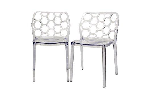 [Baxton Studio Honeycomb Acrylic Modern Dining Chair, Set of 2, Clear] (Acrylic Dining Chair)