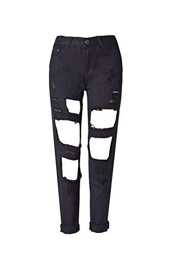 Stretch Ripped Jeans Casuales Color Bolsillos Al Negro Con Sólido Hole Aire Button Mujeres Casual Libre Fit Slim Cut Pantalones Sv1x44q