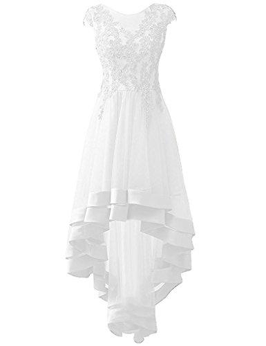 Lo Hi Asymmetrisch Abendkleider Damen Lang Ballkleid Cocktailkleider Partykleid Carnivalprom Weiß Appliques wYA44H