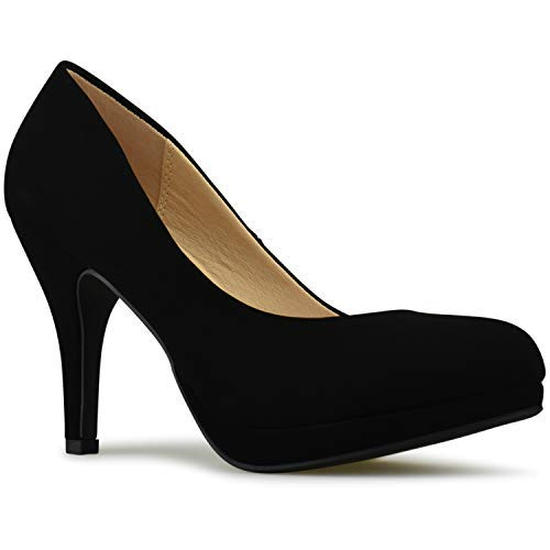 Premier Standard - Women's New Classic Elegant Versatile Low Stiletto Heel Dress Platform Pumps Shoes, TPS2019100094 Black Nb Size 9 ()