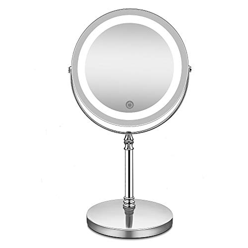 La Farah LED Lighted Makeup Mirror,Vanity Mirror with Touch Switch,10X Magnification Spot Mirror, Countertop Cosmetic Mirror,Adjustable Brightness,Double Sided,Polished - Activity Chrome Table