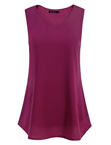 Business Casual Work Sleeveless Dressy Tops Blouses Tunics Camisole for Women M - Magenta Chiffon