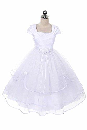 Girls First Communion Dress - Baptism Holy Communion Fancy Flower Girl White Dress for $<!--$44.99-->