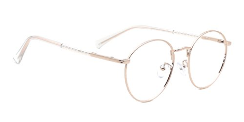 93d7acf89b1ff TIJN Oversized Rose Gold Rimmed Frame Large Round Metal Eyeglasses for  Women  Amazon.ca  Clothing   Accessories