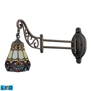 Elk 079-Tb-21 Floral Heart Mix-N-Match 1-Light Swing Arm Sconce, 12-Inch, Tiffany -
