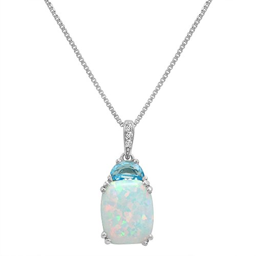 (Created Opal with Blue Topaz and Diamond Pendant-Necklace in Sterling Silver)