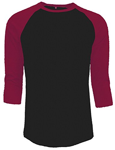 (New Line 3/4 Sleeve Plain T-Shirt Baseball Tee Raglan Jersey Sports Men's Tee (XXXL, Black Red))