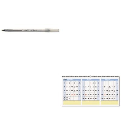 KITAAGPM1528BICGSM11BK - Value Kit - At-a-Glance QuickNotes Three-Month Horizontal Wall Calendar (AAGPM1528) and BIC Round Stic Ballpoint Stick Pen (BICGSM11BK)