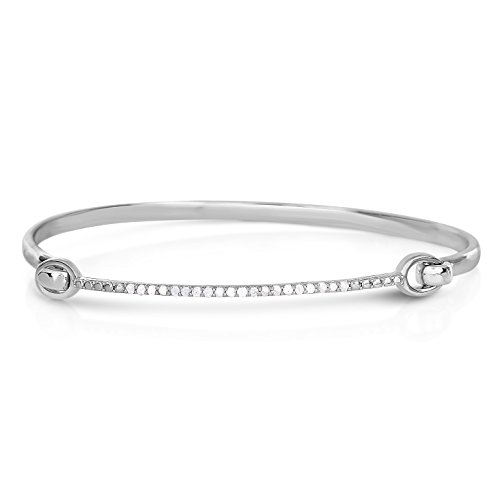 - NATALIA DRAKE Blowout Sale Sterling Silver 0.25 CT Diamond Delicate Bangle Bracelet
