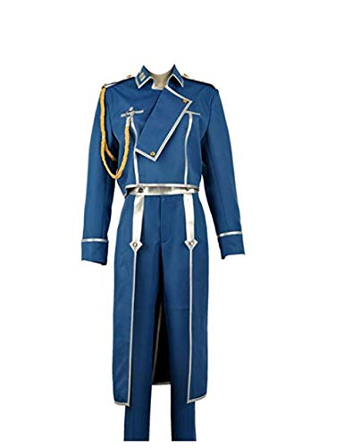 Fullmetal Alchemist Roy Mustang Military Cosplay Costume Mens Uniform Costume Suit Blue]()