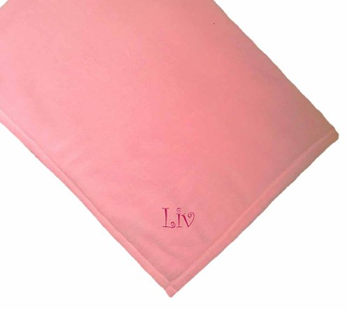 Liv Girl Name Personalized Microfiber Plush Pink Baby Embroidered - Clothing Store Liv