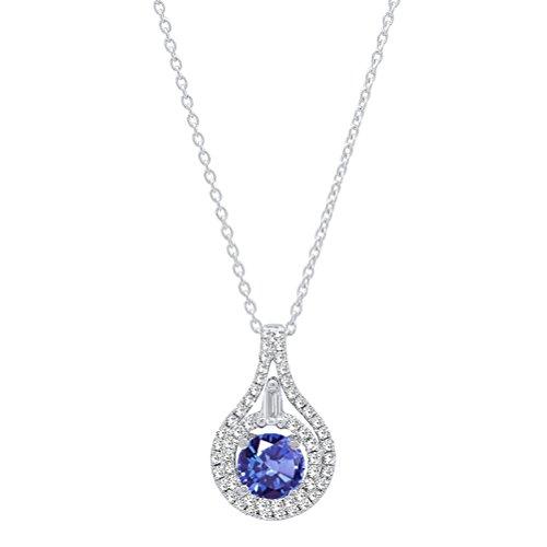Dazzlingrock Collection 14K 5.5 MM Round Tanzanite And Round & Baguette Diamond Ladies Pendant, White Gold