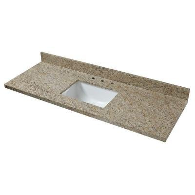 Pegasus 61886 Granite Vanity Top in Giallo Ornamental with White Basin<BR>