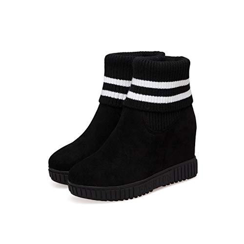 Zapatos 37 Elástica Color Grueso Hrcxue De Alto Con A Las Corte Negro Juego Tacón Cabeza Botas Fondo Cuña Redonda La Martin Punto En dzBOzrqw
