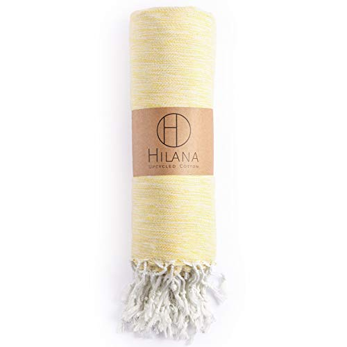 (HILANA Yalova Eco-Friendly Throw Blanket Made of 50% Recycled Cotton and 50% Natural Cotton (Yellow))