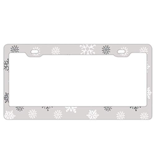 YEX Abstract Snowflake Grey License Plate Frame Novelty Car Tag Frame Auto Metal License Plate Holder 12