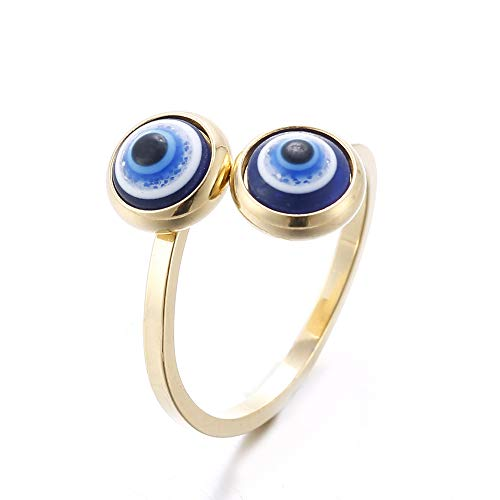 LXBSIYI Gold Plated Evil Eye Ring for Women - 10k Gold Plated Stainless Steel Open Ring,Eyes Evil Mid Rings for Women,Cool Openable Rings (Ring - Two Eyes)