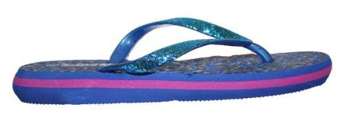 Kvinnor Casual Strand Flip Flop Rem Sandal Med Cheetah Trycket / Glitter Band Blå