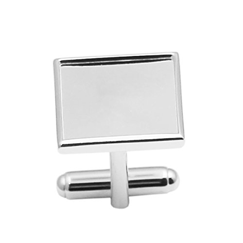 925 Sterling Silver Square Cufflink Blank Setting Wedding Accessories Groomsmen Gifts 2PC Per ()