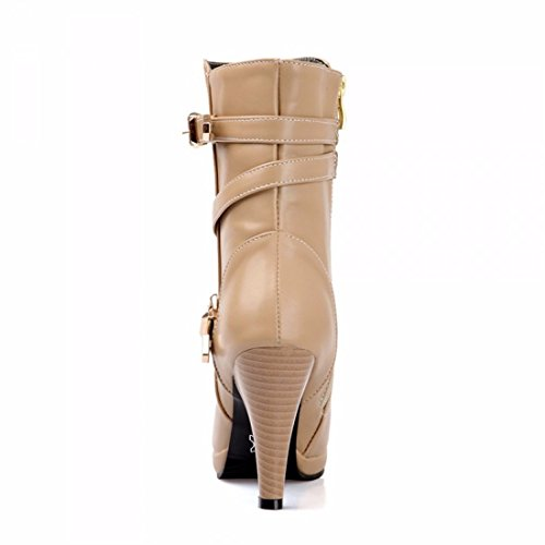 Boots, Belts, Heels, Heels, and Martin Boots,Apricot,35
