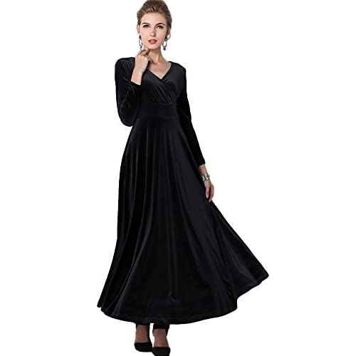 f2acd6fa6f8 durable modeling Urban CoCo Women long sleeve V-neck Velvet Stretchy Long  Dress