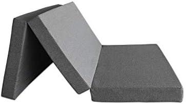 en Loneta Exterior Impermeable Gris extrafirme Ventadecolchones Colch/ón Plegable con Cierre y Asa 80cm x 190cm x 10cm con Espuma en Densidad 25kg//m3