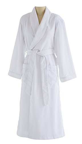 Plush Lining - Ultimate Doeskin Microfiber Bathrobe Lined In Terry - Luxury Spa Bathrobe for Women and Men - White/White - Large