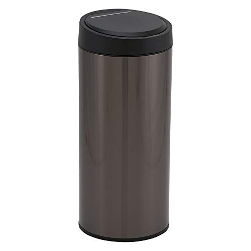 Design Trend Round Black Stainless Steel Touchless Trash Can with Automatic Soft Close Lid | 30 Liter / 8 Gallon