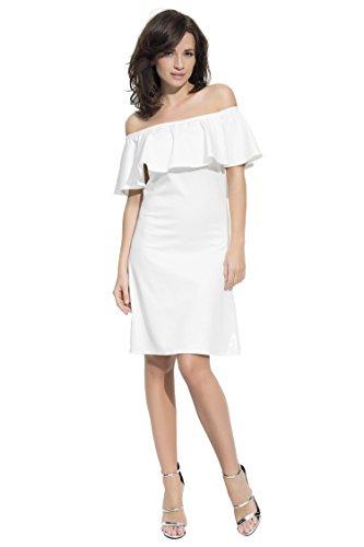 Elegantes Bandeau Rüschen Kleid Gr. 36 38 40 42, S M L XL Ecru