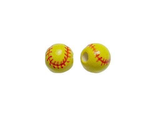 20pc 13mm Softball Ceramic Sports Beads-Hand Painted