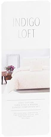 Indigo Loft 5pc Square Eyelash Comforter Set King 100 Cotton Cream Vanilla Amazon Ca Home Kitchen