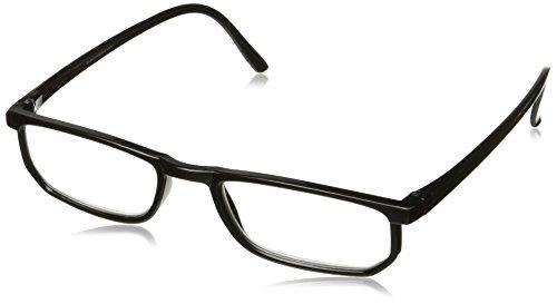 Dr. Dean Edell Basic Plastic Black Rectangle and DDE Case, +1.25, 0.200 - Plastic Black Rectangle Glasses