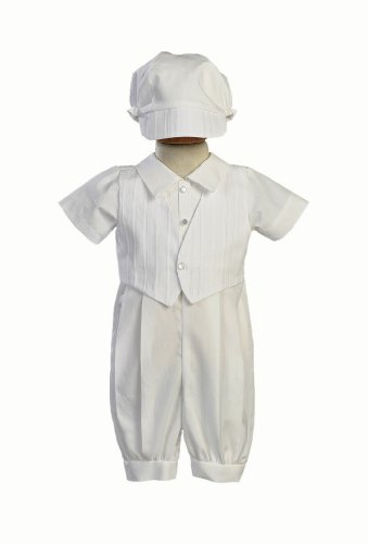 Cotton-Poly Christening Romper and Embroidered Vest,White,Size L (12-18 Months) ()