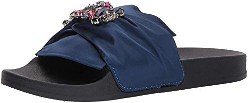 - Kenneth Cole REACTION Women's Pool Slide Sandal with Faux Jewel Detail, Navy Multi, 8 M US