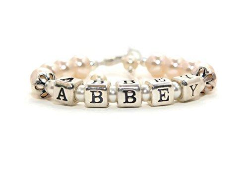 Personalized Baby Bracelet Sterling Silver Pearl Baby Bracelet Keepsake Bracelets Toddler Jewelry Little Girl Bracelet FREE Gift Box