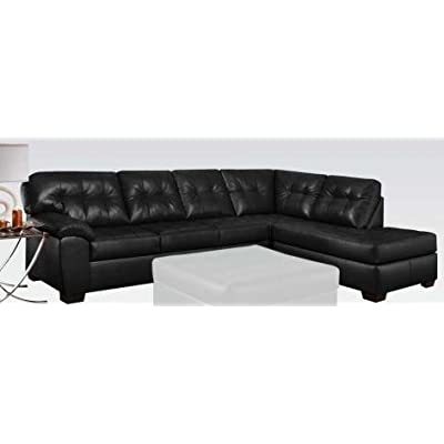 """Acme Furniture Shi 50615 123"""" Sectional Sofa with Left Arm Facing Sofa Right Arm Facing Chaise Made in USA Loose Seat Cushion and Bonded Leather Match Upholstery in Soho Onyx"""
