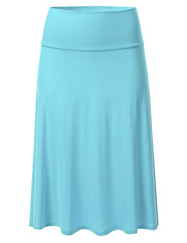 FLORIA Womens Solid Lightweight Knit Elastic Waist Flared Midi Skirt SkyBlue 3XL