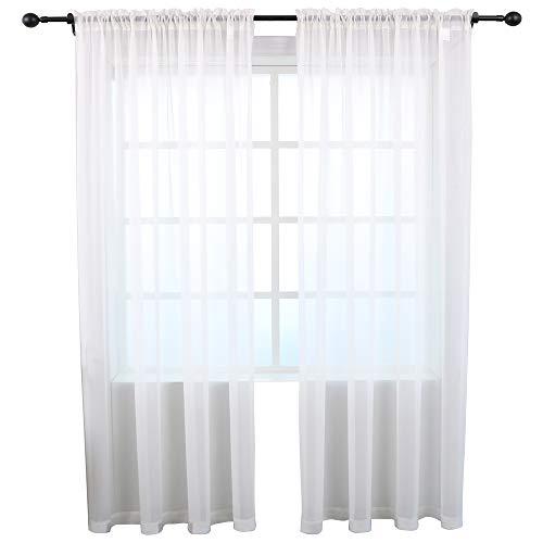 Cheap KEQIAOSUOCAI Sheer Curtains Inherent Flame Retardant Window Sheer Curtain Panels for Bedroom Living Room Hotel,Antiflaming,White,52″x95″,Set of 2