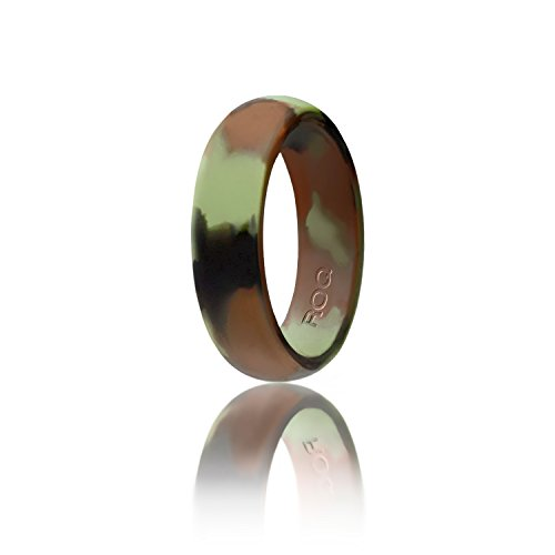 Silicone Wedding Ring For Women By ROQ, Affordable Silicone Rubber Band, Camo - Size (Orange Camo Rings)