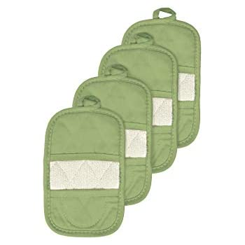 Ritz Royale Collection 100% Cotton Terry Cloth Mitz, Dual-Function Pot Holder/Oven Mitt Set, 4-Pack, Cactus Green