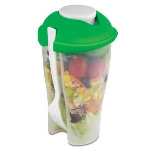 Portable Salad Container For Lunch To Go Includes Plastic Salad Shaker with Plastic Dressing Containers and Forks Compact and Travel Friendly Galleon Global Inc.