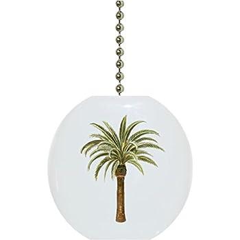 Tropical Palm Tree Porcelain Fan Light Pull Ceiling Fan