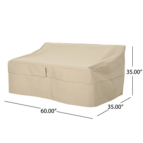 Charlene Outdoor 60'' by 35'' Waterproof Loveseat Cover, Beige by Great Deal Furniture (Image #3)