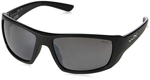 Wiley X ACKOB02 Kobe Sunglasses Grey Silver Flash Lens Matte, Black