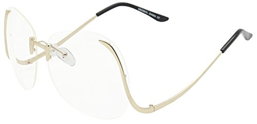 Women's Super Oversized Elegant Vintage Round Rimless Upside Down Butterfly Fashion Sunglasses (Gold, - Super Glasses Retro