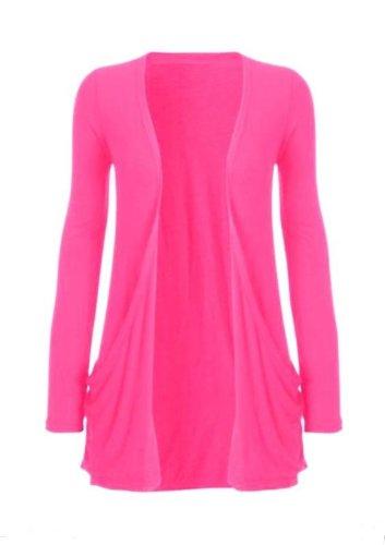 Hot Hanger Ladies Plus Size Pocket Long Sleeve Cardigan 16-26 : Color – Cerise : Size – 16-18 LXL