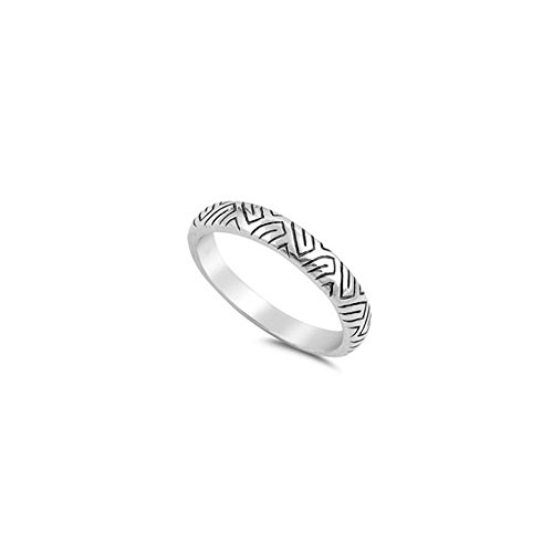 (Noureda Sterling Silver Fancy Aztec Design Band Ring with Ring Face Height of 4MM)