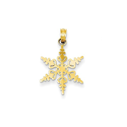 Jewelry Stores Network 14K Yellow Gold Polished Snowflake Pendant 24x15mm ()